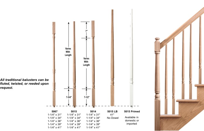 e5ef31e62dc Red Oak traditional balusters. Please contact us if you do not see a price  for something.