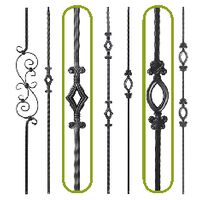 ... Adjustable Exterior Aluminum · Hollow Tube Iron Balusters · Solid Iron  Balusters